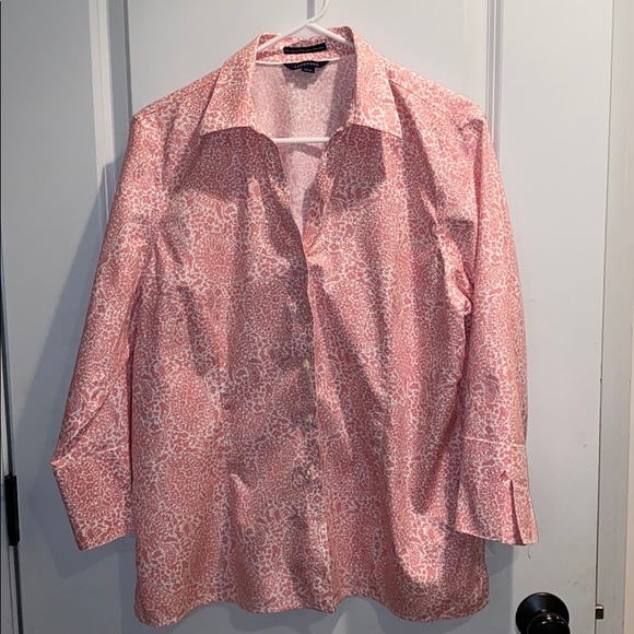 Lands' End Tops - Lands' End pink and white blouse. Size 16